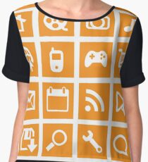 Web icon graphics (orange) Chiffon Top