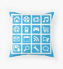 Web icon graphics (blue) Throw Pillow