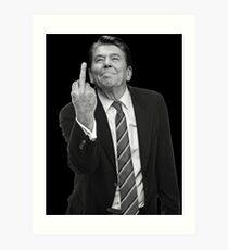 Ronald Reagan Middle Finger Art Print