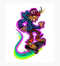 Funny Skateboarder Cartoon Design  Photographic Print