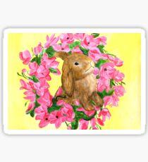 spring brown bunny with pink flowers Sticker