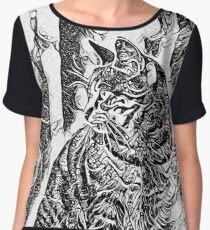 Black and White Drawing of a CAT Chiffon Top