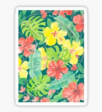 Tropical garden, hibiscus plumeria and palm leaves Sticker
