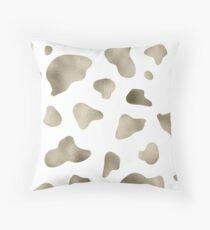 Golden cow print Throw Pillow