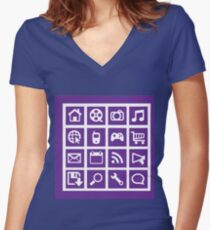 Web icon graphics (purple) Women's Fitted V-Neck T-Shirt