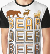 Retro Vintage Bear Deer Beer Graphic T-Shirt