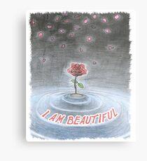 Spiritual t shirt I am beautiful - Universal Rose Metal Print