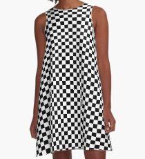 Black White Checker Design Bedspread - Mini Chess Sticker A-Line Dress