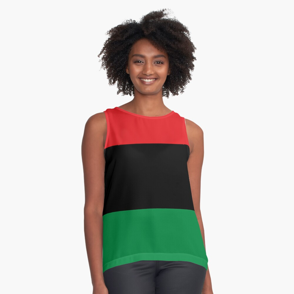 Pan African Flag T-Shirt - UNIA Flag Sticker - Afro American Flag Sleeveless Top
