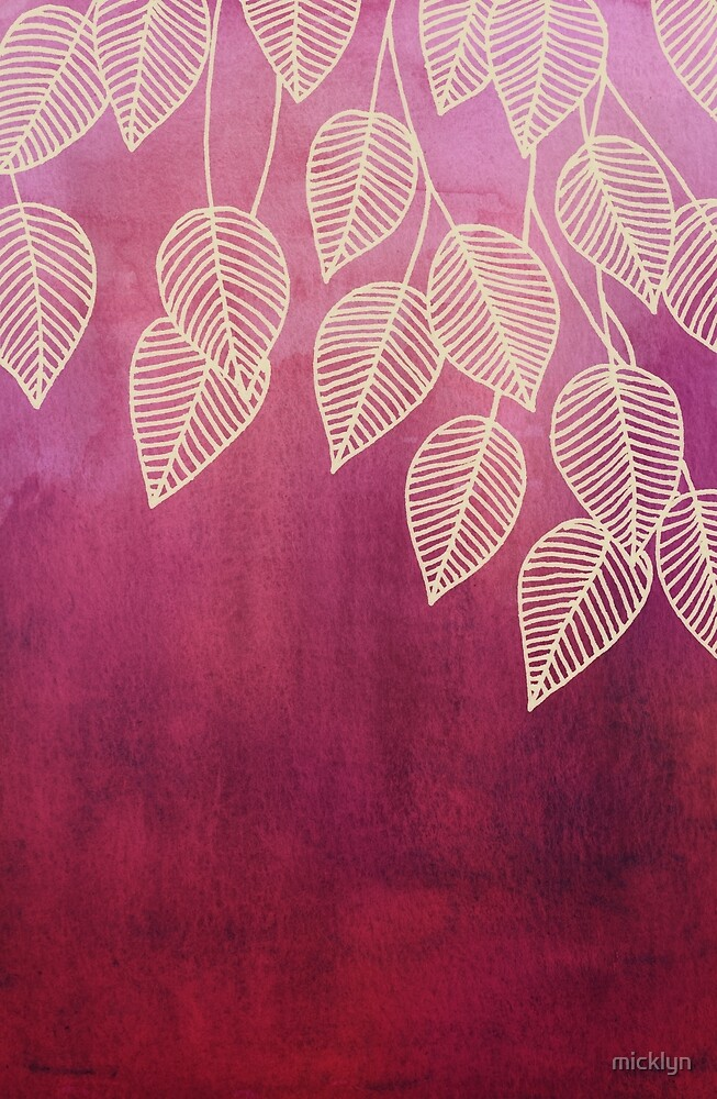Magenta Garden - watercolor & ink leaves by micklyn