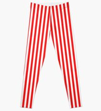 Red and White Striped Slimming Dress Leggings