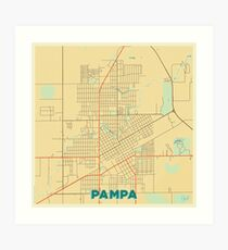 Pampa Map Retro Art Print