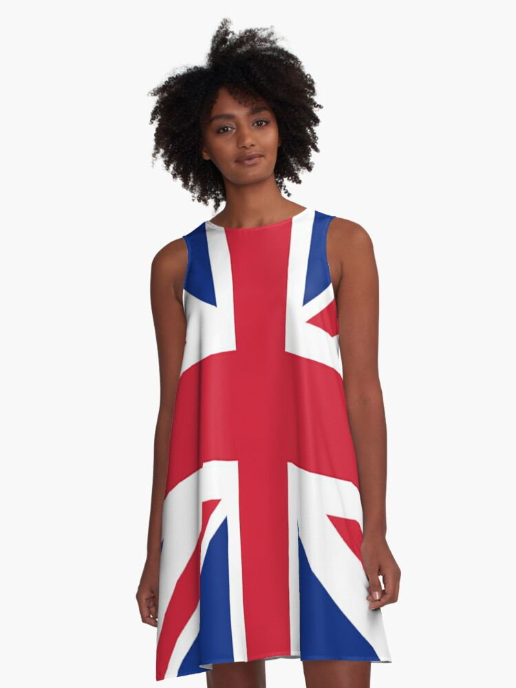 Union Jack 1960s Mini Skirt - Best of British Flag A-Line Dress Front