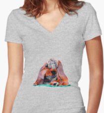 Orangutan  Women's Fitted V-Neck T-Shirt