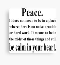 Peace Inspirational Quote Metal Print