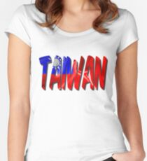 Taiwan Word With Flag Texture Women's Fitted Scoop T-Shirt