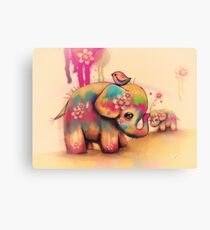 vintage tie dye elephants Canvas Print