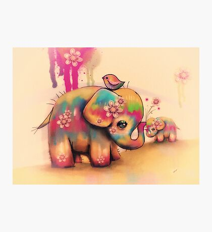 vintage tie dye elephants Photographic Print