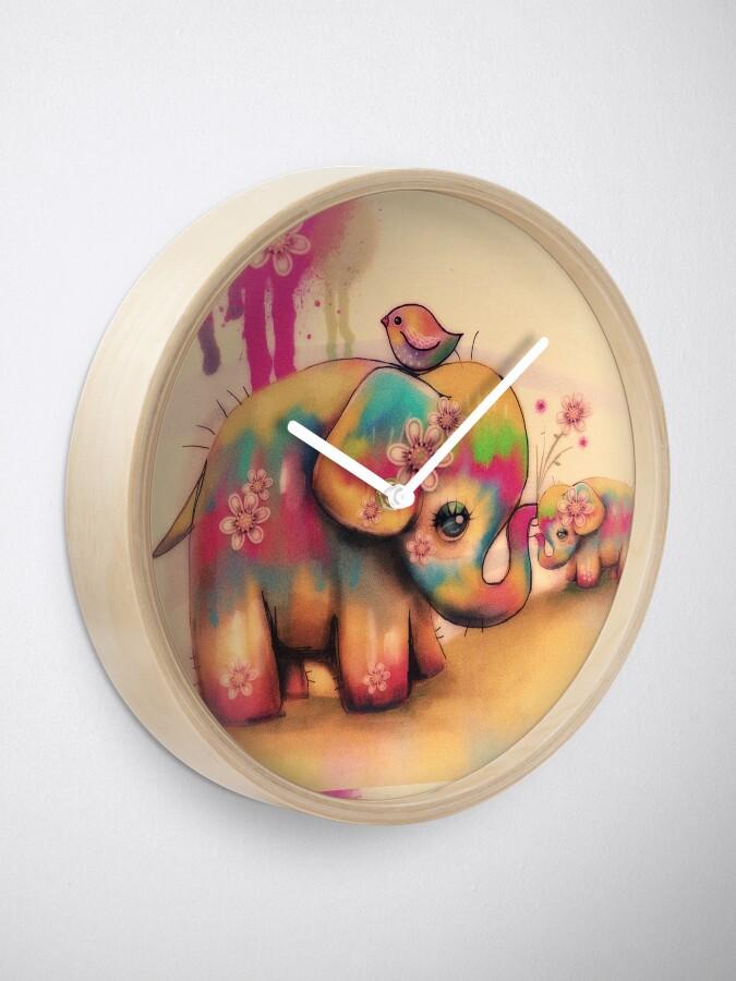 Alternate view of vintage tie dye elephants Clock