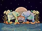 Lotus Flower Elephants of the Rainbow by Karin Taylor