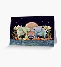 Lotus Flower Elephants of the Rainbow Greeting Card
