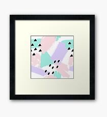 Pattern with geometric and brush painted elements Framed Print