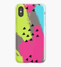 Pattern with geometric and brush painted elements iPhone Case/Skin