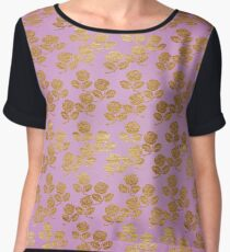 Pink and Faux Gold Foil Roses Chiffon Top