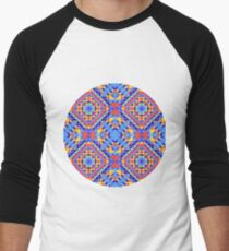 Ethnic geometric pattern with elements of traditional tribal folk style.  Men's Baseball ¾ T-Shirt