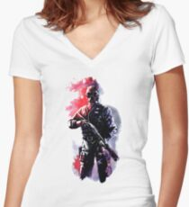 Rainbow Six Siege Watercolor Smoke Women's Fitted V-Neck T-Shirt