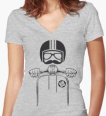 Vespa Dude Women's Fitted V-Neck T-Shirt