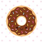 Happy Sprinkles Donut on pink polka by mycutelobster