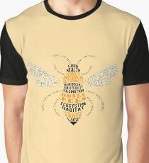 Camiseta gráfica Honey Bee Word Cloud con alas