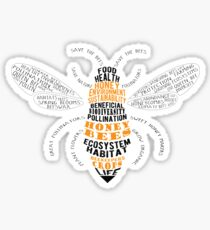 Honey Bee Word Cloud with Wings Sticker