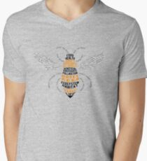 Honey Bee Word Cloud with Wings V-Neck T-Shirt