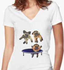 who let the pugs out Women's Fitted V-Neck T-Shirt