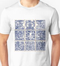 Traditional Oriental Ceramic Vintage Flowers Vector Illustration Unisex T-Shirt