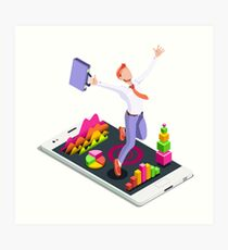 Isometric Vector 3D Businessman Infographic Business Man Jumping Art Print