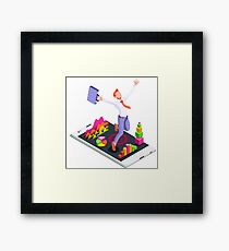 Isometric Vector 3D Businessman Infographic Business Man Jumping Framed Print