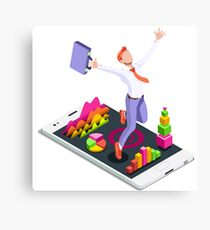 Isometric Vector 3D Businessman Infographic Business Man Jumping Canvas Print