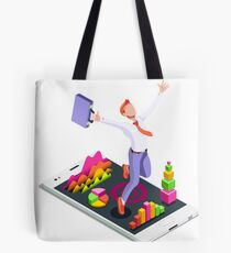 Isometric Vector 3D Businessman Infographic Business Man Jumping Tote Bag