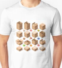Cardboard Delivery Box Packaging 3D Isometric Vector Icons Unisex T-Shirt
