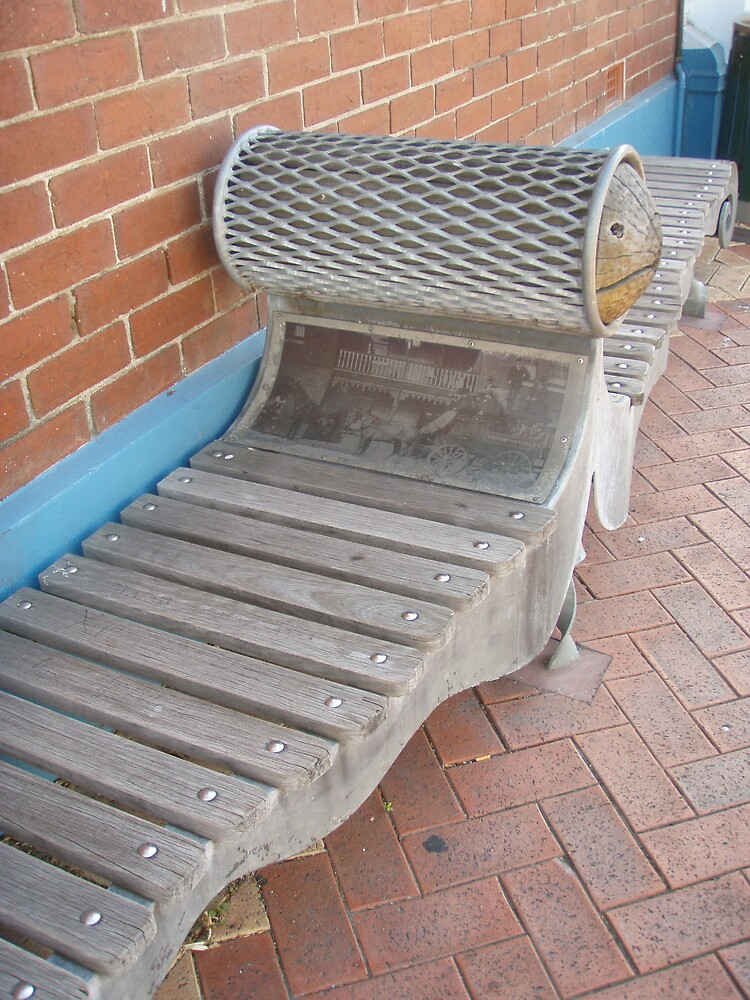 street bench where the photo plaque was - interesting - in Burnie by gaylene
