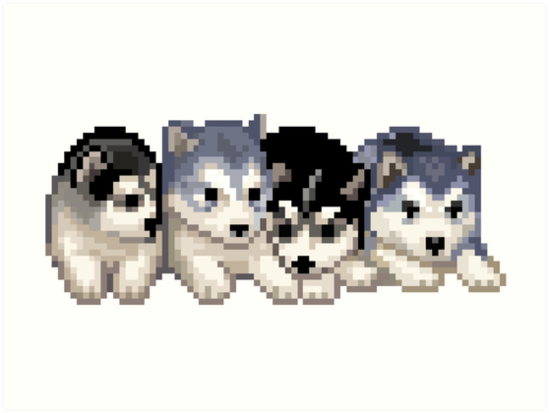 Pixel Husky Puppies Art Print By Erinaugusta