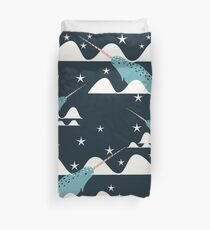 swimming narwhal Duvet Cover