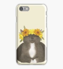 Black Cat With Yellow Flowers iPhone Case/Skin