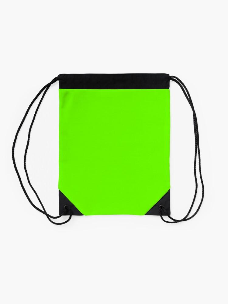 Alternate view of Super Bright Fluorescent Green Neon Drawstring Bag