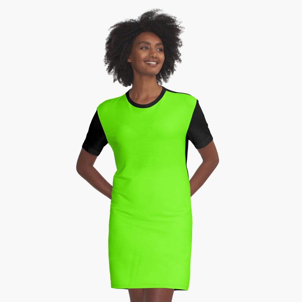 Super Bright Fluorescent Green Neon Graphic T-Shirt Dress