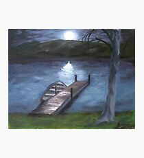 At The Lake By Night Painting Photographic Print
