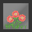 Peach colored  flowers on grey background by ikshvaku